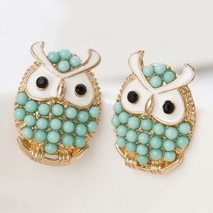 fashion owl beads earring